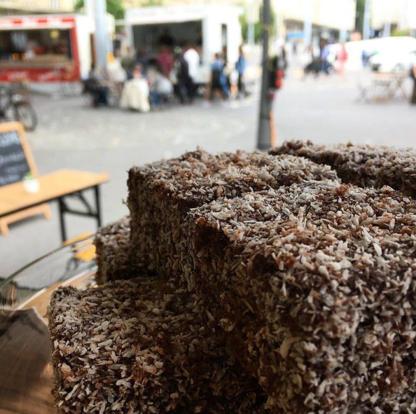 Lamington is an Australian cake with coconut (c) Sydney Café