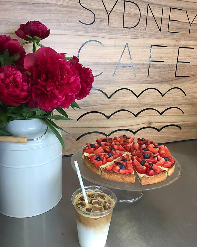 Iced latte and strawberry treat. (c) Sydney Café