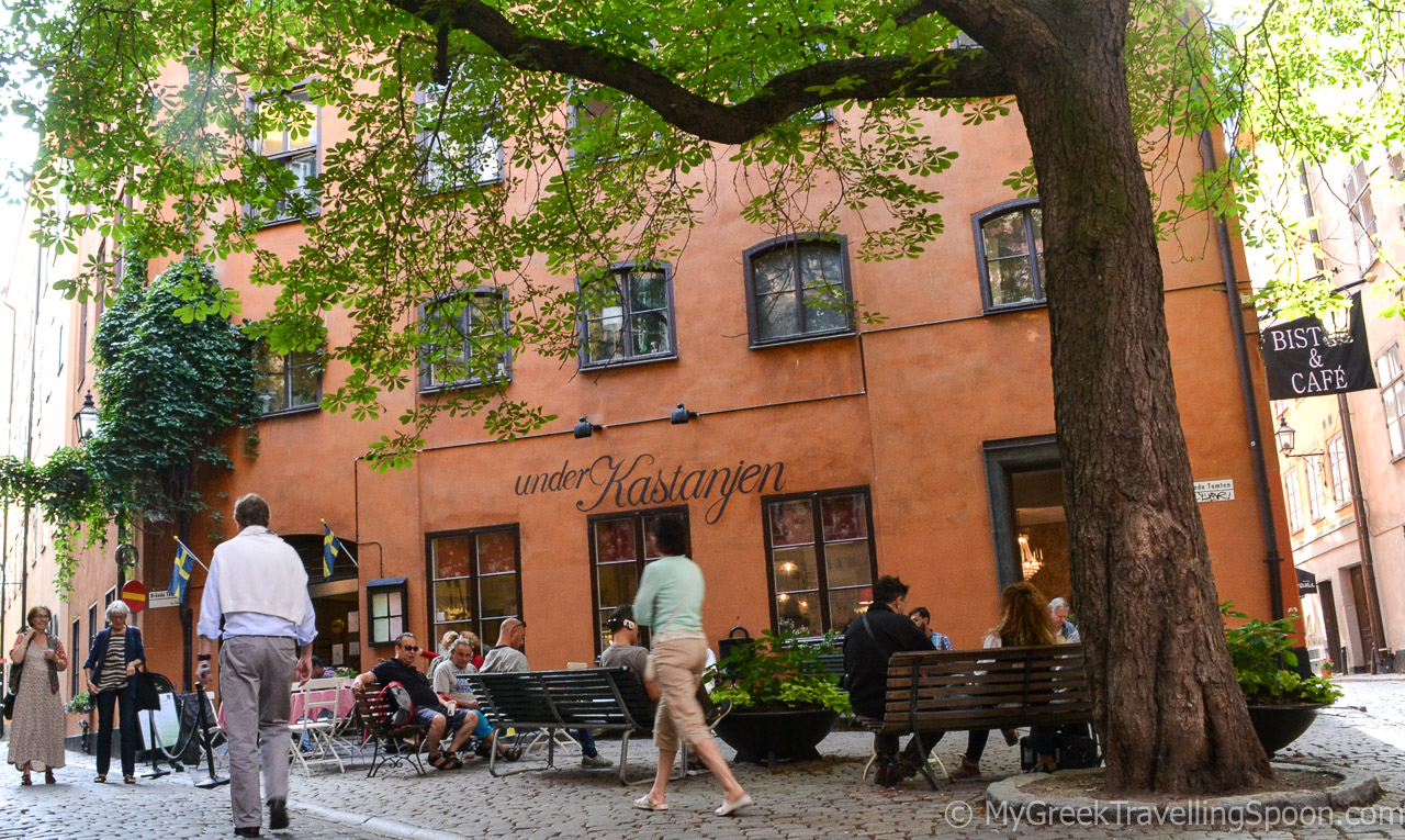 """The tiny square outside the bistro-bakery-wine bar """"Under Kastanjen"""" in Gamla Stan -my favourite spot."""